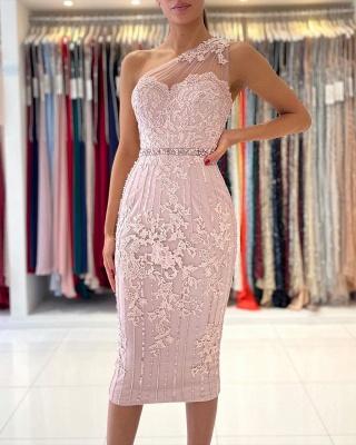 Stylish One Shoulder Floral Lace Slim Formal Party Dress_3