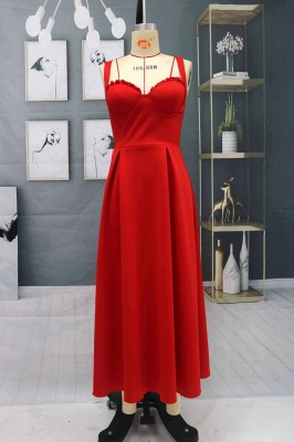 Charming Sleveless Red Homecoming Dress Sweetheart Evening Party Dress_3