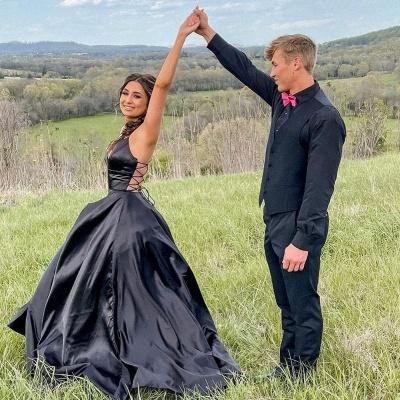 Chic Black Satin Spaghetti Straps Wedding Dress Party Dress with Side Pockets_3