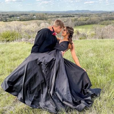 Chic Black Satin Spaghetti Straps Wedding Dress Party Dress with Side Pockets_2