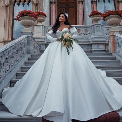 Stunning Sweetheart Puffy Sleeves Wedding Dress with cathedral Train_2