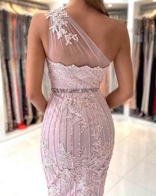 Stylish One Shoulder Floral Lace Slim Formal Party Dress_4