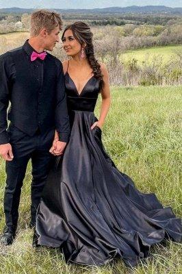 Chic Black Satin Spaghetti Straps Wedding Dress Party Dress with Side Pockets_1