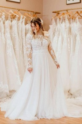 Charming White Floral Lace Tulle Plus Size Bridal Dress with Long Sleeves_1