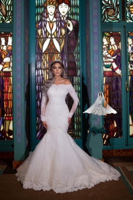 Великолепное свадебное платье русалки с открытыми плечами и длинными рукавами со съемным шлейфом_3