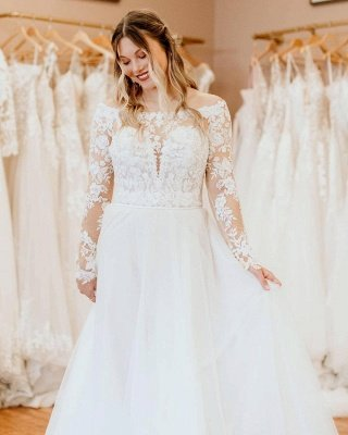 Charming White Floral Lace Tulle Plus Size Bridal Dress with Long Sleeves_3