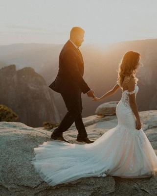 Elegant Off Shoulder White Mermaid Wedding Dress Floral Lace Tulle Bbridal Dress_2