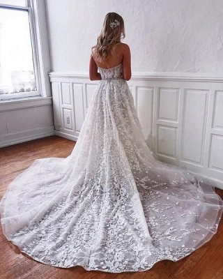 Gorgeous Sweetheart Sleeveless Wedding Dress with Tulle Floral  Appliques_2