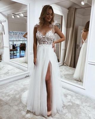 Chic Sleeveless 3D Floral Chiffon Wedding Dress with Side Split_2