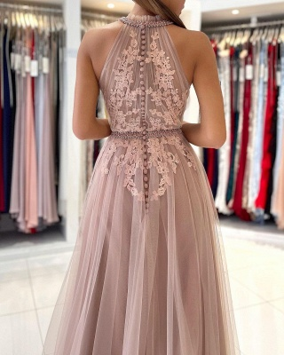 Stunning Halter Lace Appliques Tulle Aline Evening Maxi Dress_5