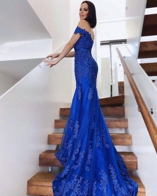 Charming Off-the-Shoulder Mermaid Evening Gown Tulle Lace Appliques Prom Dress_2