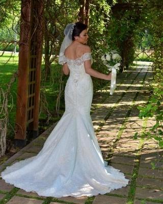 Великолепное свадебное платье русалки с открытыми плечами и кружевными аппликациями_2