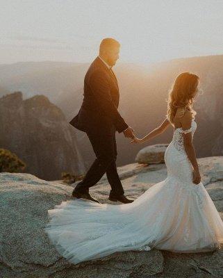 Элегантное белое свадебное платье русалки с открытыми плечами и цветочным кружевом Тюлевое свадебное платье_2
