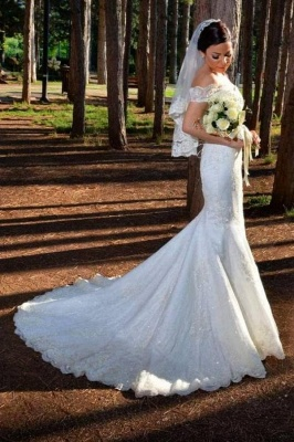 Gorgeous Off Shoulder Mermaid Wedding Dress with Lace Appliques