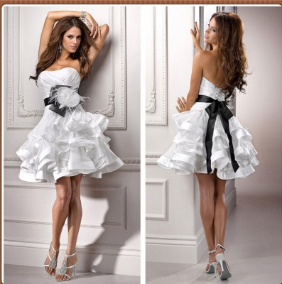 Sexy Sweetheart Wrinkles Short Cocktail Party Dress with Bow Belt