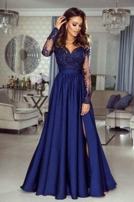 Elegante vestido largo de noche de satén de encaje azul marino Vestido formal de manga larga con abertura lateral