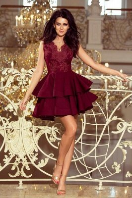 Cute Sleeveless Velvet Short Homecoming Dress Floral Two Layers Cocktail Dress_1