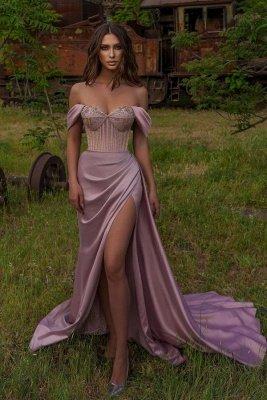 Off Shoulder Sequins Evening Maxi Dress with Side Split Floor Length Prom dress