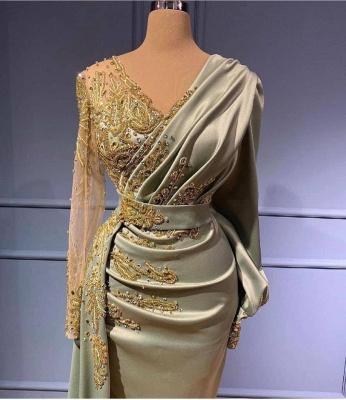 Вечернее платье русалки с длинными рукавами, 3D-цветочные аппликации, атласный V-образный вырез с боковой накидкой_2