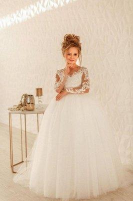 Romantische lange Ärmel weiße Tüll-Spitze-Applikationen Hochzeitsfest-Kleid für Mädchen