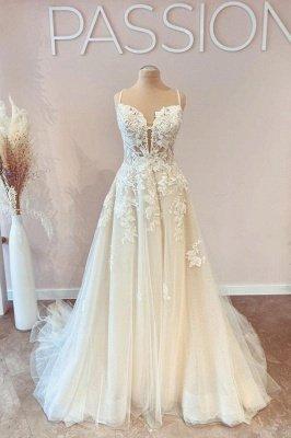 Spaghetti Straps White Floral Tulle Lace Appliques Aline Wedding Dress