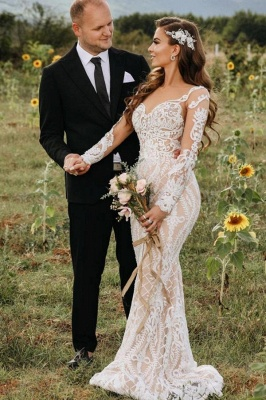 Gorgeous Mermaid Wedding Dresses Long Sleeves White Floral Lace Appliques Bridal Dress
