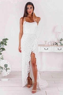 Spaghetti Straps White Floral Pattern Simple Evening Dress Daily Casual Wear Dress