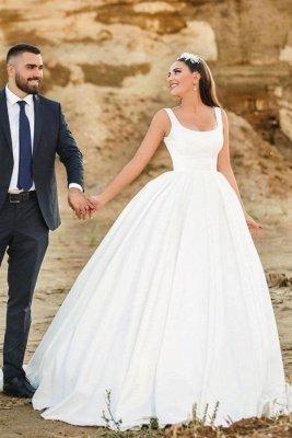 Glamorous Straps White Aline Bridal Gown Sleeveless U-Neck Garden Wedding Dress