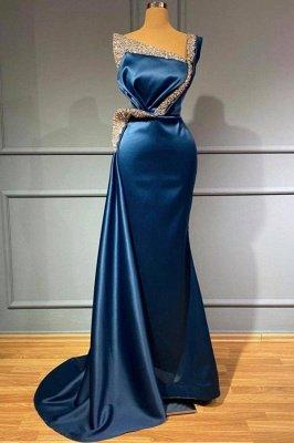 Atemberaubendes Satin-Meerjungfrau-Abendkleid mit einer Schulter und goldenen Verzierungen