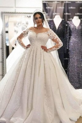 Gorgeous White Long Sleeves Ball Gown Wedding Dress 3D Floral Lace Appliques with Sweep Train