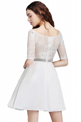 ALICIA | A Line Jewel White Short Sleeve Satin Homecoming Dresses With Lace_1