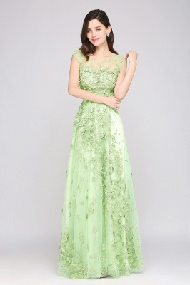 ARDEN | A-line Floor Length Tulle Green Prom Dresses with Appliques_5