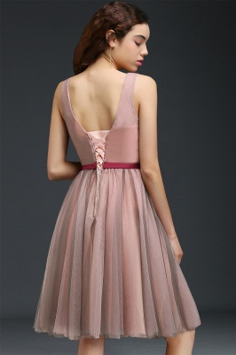 CORALINE |Princess V-neck Knee-length Tulle Homecoming Dress with a Self-tie Belt_3