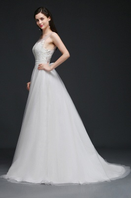 BAILEE | A-line Scoop Tulle Elegant Wedding Dress With Lace_6