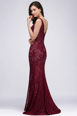 DULCE | Mermaid Crew Floor-length Sleeveless Burgundy Lace Prom Dresses_4