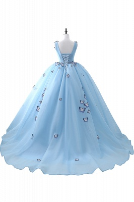 BREANNA | Prinzessin V-Ausschnitt Kapelle Zug Chiffon Sky Blue Prom Kleider mit Schmetterling Applique_3