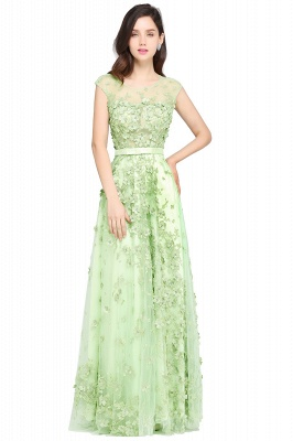 ARDEN | A-line Floor Length Tulle Green Prom Dresses with Appliques_1