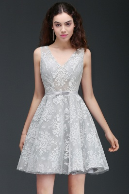 ALEAH   A Line Strtaps Lace Cocktail Homecoming Dresses With Sash_1