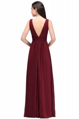 ALEXA | Gaine col en v en mousseline bordeaux longues robes de soirée_7