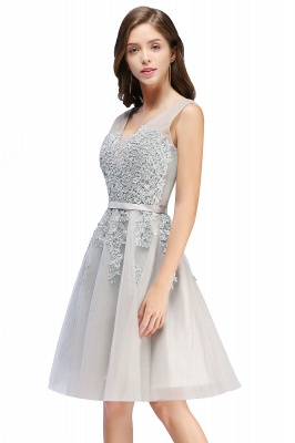 ADDILYNN | A-line Knee-length Tulle Prom Dress with Appliques_3