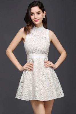 CHLOE | Princess High neck Knee-length White Cute Homecoming Dress_6