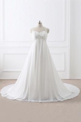 ALIVIA | Elegantes vestidos de novia de gasa de línea correas apliques con cordones vestidos de novia_1