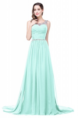 AIMEE | A-line Court Train Chiffon Party Dress With  Beading_9