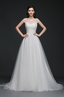 BAILEE | A-line Scoop Tulle Elegant Wedding Dress With Lace_1