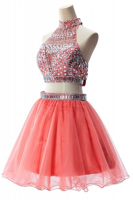ELISE | Two-piece Halter Sleeveless Short Tulle Prom Dresses with Crystal Beads_11