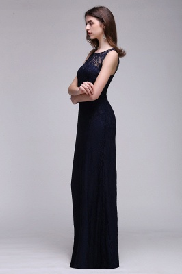 CHARLEY | Sheath Illusion Floor length Elegant Navy Blue Prom Dress_4