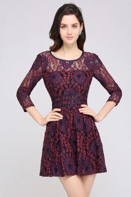 Elegantes Spitze Kleid Kurz | A-Linie Kleider Mit Langarm_3