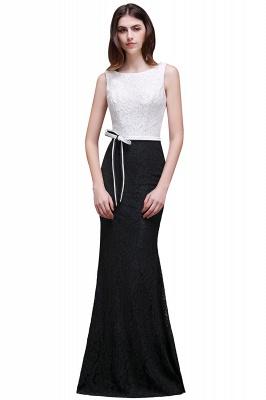 BAILEY | Bainha Colher Andar de comprimento Lace Branco E Preto Prom Vestidos_2