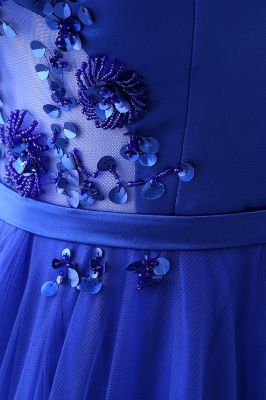 Stunning Off the shoulder blue Tulle ball gown prom dresses_10