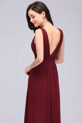 ALEXA | Gaine col en v en mousseline bordeaux longues robes de soirée_4